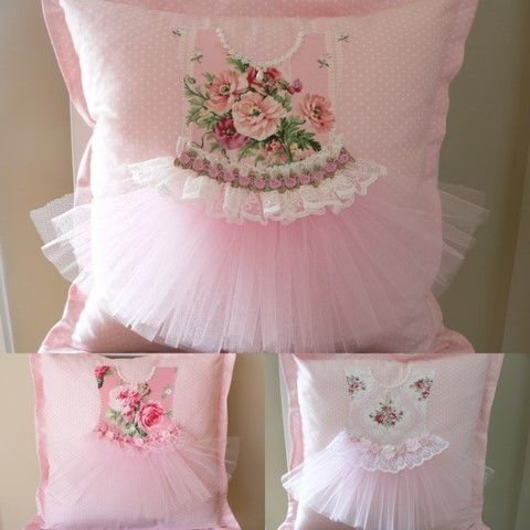 pretty little pink tutu pillows