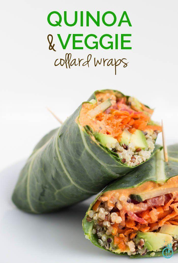 Vegan collard green wraps with hummus, quinoa, avocado, cucumber, carrots...