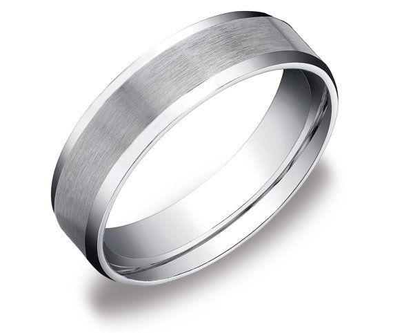 mens 10k white gold plain high polished wedding ring comfort fit band 6mm sizes 5 11 - Mens White Gold Wedding Ring