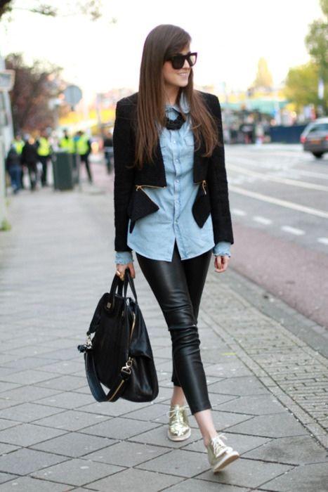 leather capri leggings. golden menswear shoes. moto, crop, jacket. chambray button down. oversized convertable satche. black statement necklace.