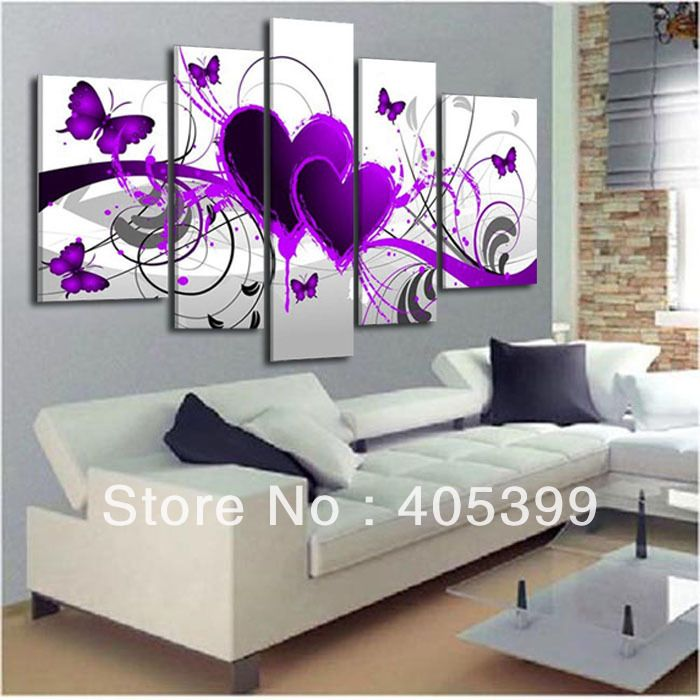 Purple Vegetable Wall Art: 5pcs Purple Heart Design !100% Handmade Modern Abstract