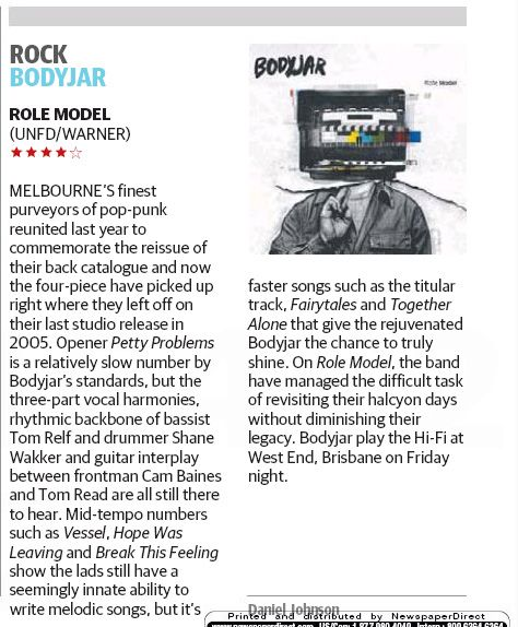 Bodyjar in Courier Mail