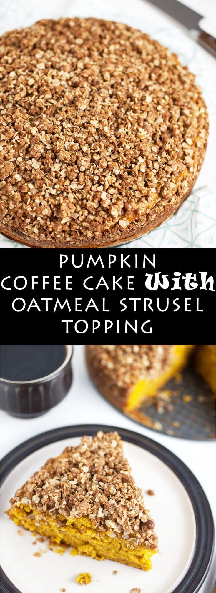 This Pumpkin Coffee Cake with Oatmeal Struesel Topping is the perfect fall breakfast or dessert! It's moist and fluffy, easy to make, and topped with a sweet cinnamon oatmeal topping. Crumbly struesel is the best! So good with a cup of coffee! #ad #flahavans #oatspiration