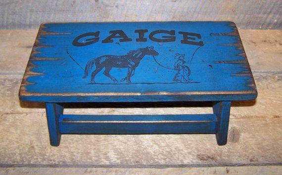 Child's bathroom stool. Rustic distressed western stool.