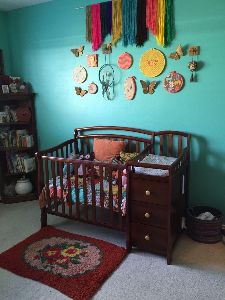 My baby girls nursery  Boho chic  Hippie nursery  Rainbow Colorful Fiesta  Vintage inspired