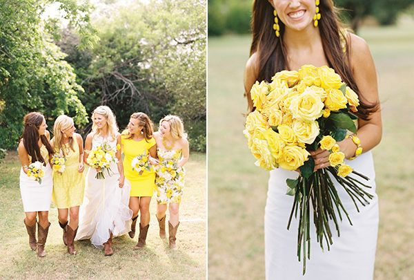 """The sweetest """"Yellow Rose of Texas"""" wedding... Would be perfect with tiny yellow roses in pots or local honey as favors"""