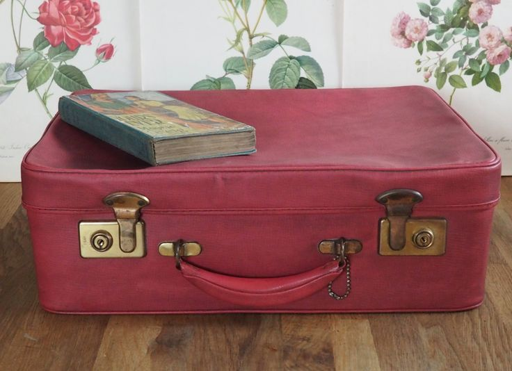 Vintage Red Antler Suitcase , lovely to use for storage. Retro, shabby chic, vintage luggage,boho, Old Suitcase/ by Route46Vintage on Etsy