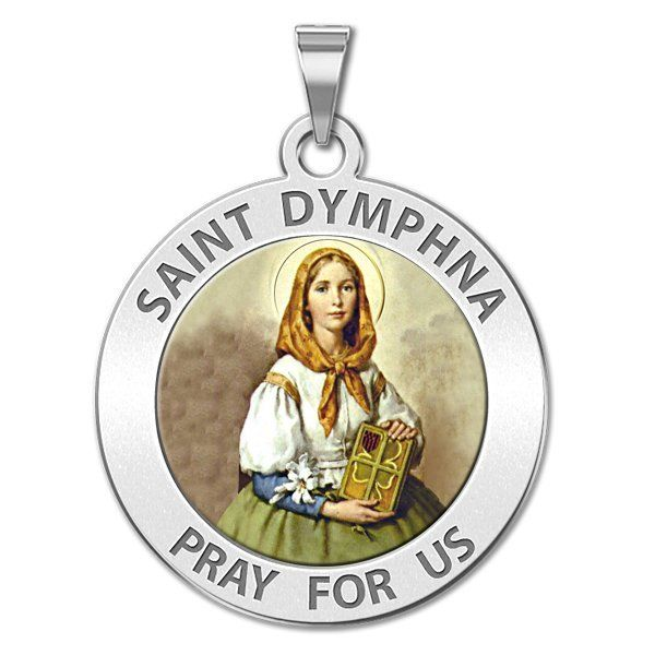 "Saint Dymphna Round Religious Medal ""Color EXCLUSIVE"" - PG87369"