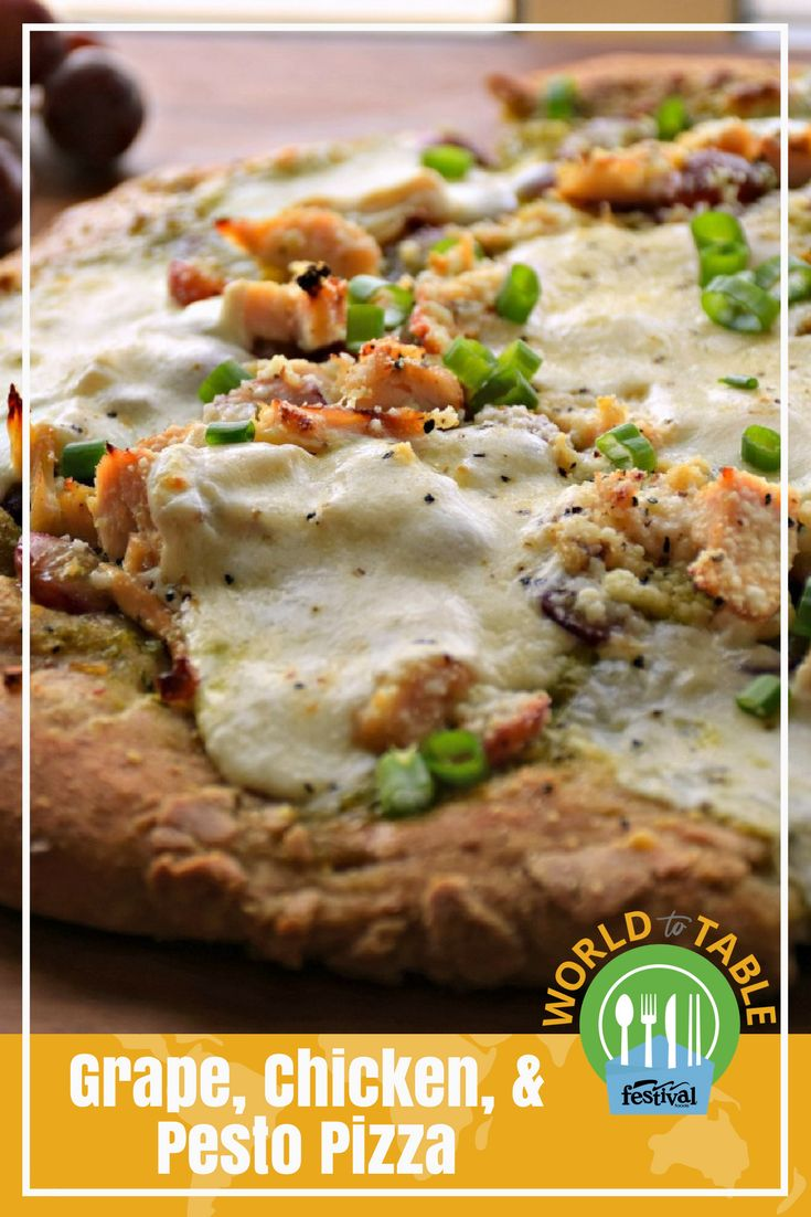 Loaded with juicy, roasted red grapes, protein-packed chicken and pesto filled with yummy, Italian flavors, this scrumptious, gourmet-inspired pizza is way better than delivery. And, with the help of pre-made ingredients this delicious and nutritious pizza is ready in just 20 short minutes. #pizza #20minuterecipes #grapes #chicken #pesto #Italian #gourmet #homemadepizza #hearty #worldtotable