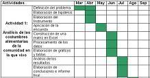 Ejemplo de cronograma para el proyecto de investigación, de TLRIID-4.