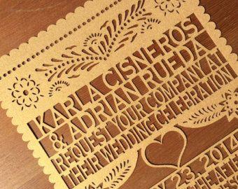 Invitación cada pieza  Nuestra boda diseño Papel Picado
