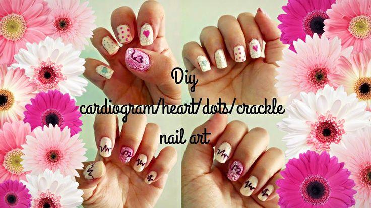 Heartbeat/cardiogram nail art | crackle/sharpie nail art