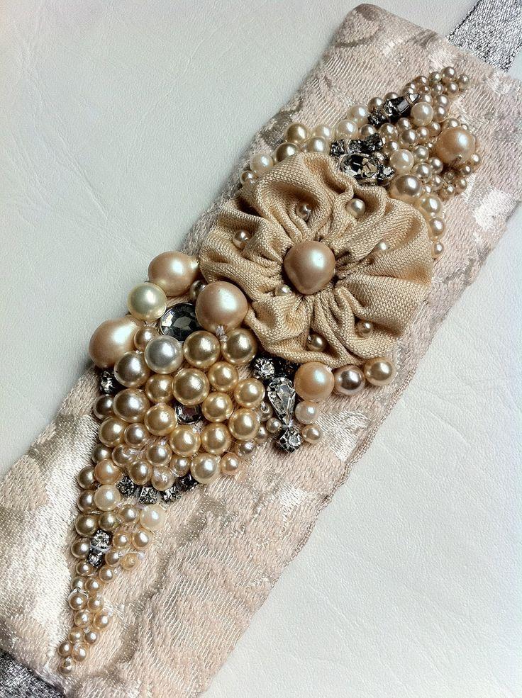 Wrist Cuff, Bracelet, Wrist Corsage Vintage Jewels and Fabric, Off White