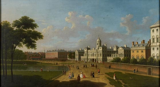 This view of Horse Guards Parade is by Samuel Scott. The red building to the right of the picture is Downing Street. St James' Park is on the left.