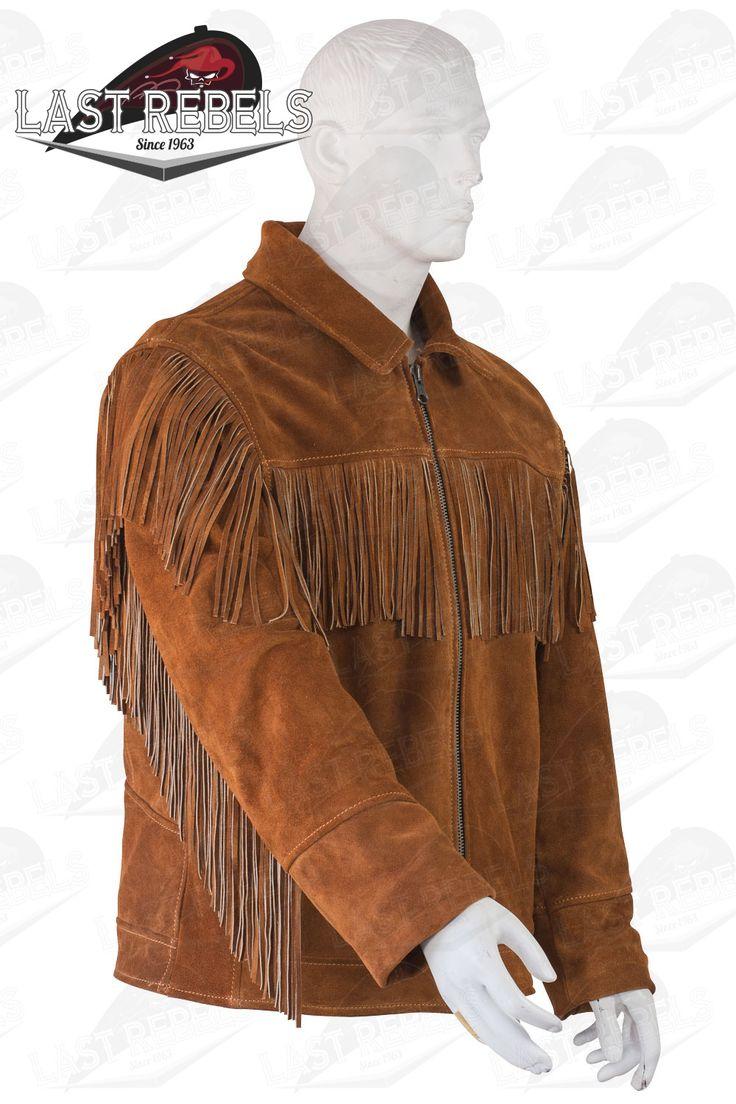 Alabama 02 Leather jacket with fringes for men