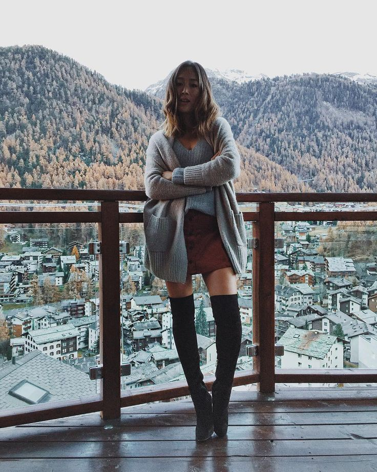 Cozy cardigan and over the knee boots! #inmychoos #snowchoos by songofstyle