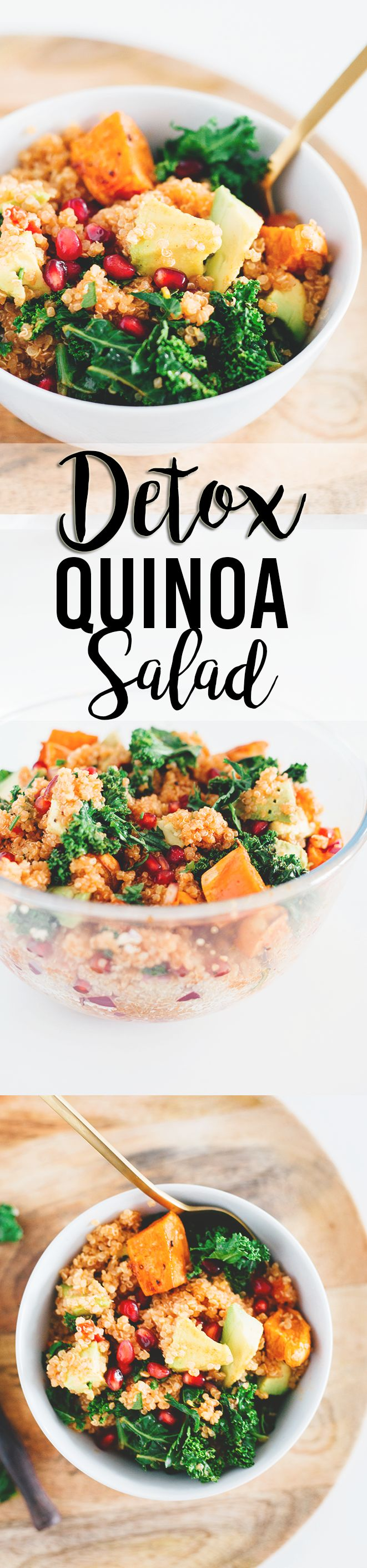 Delicious Detox Vegan Quinoa Salad with Kale and Pomegranate - A great detox recipe after the holiday season. Loaded with Sweet Potato, Kale, Tomato, Pomegranate, Red Onion and and an Orange Paprika Dressing. #detox #diet #vegan #veganrecipes #healthy #vegetarian #kale