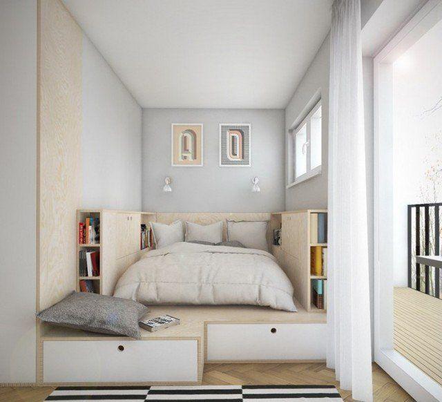 amenagement-petite-chambre-lit-plate-forme-bois-tiroirs aménagement petite chambre