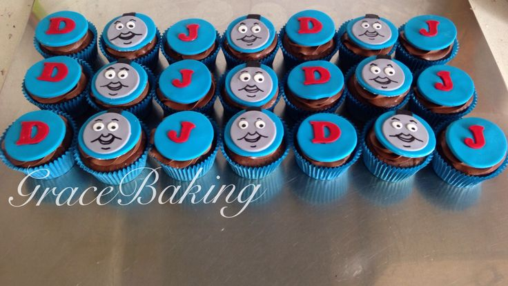 Thomas the tank engine cupcakes by Grace Baking. Chocolate mud with chocolate whip.