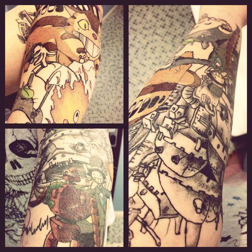 studio ghibli tattoo: Wrist Tattoo, Fyeahtattoo Com, Tattoo Sleeve, Tattoo Shops, Studios Ghibli Tattoo, Ghibli Sleeve, Hayao Miyazaki Tattoo, Isle Of Wight, Castles Tattoo