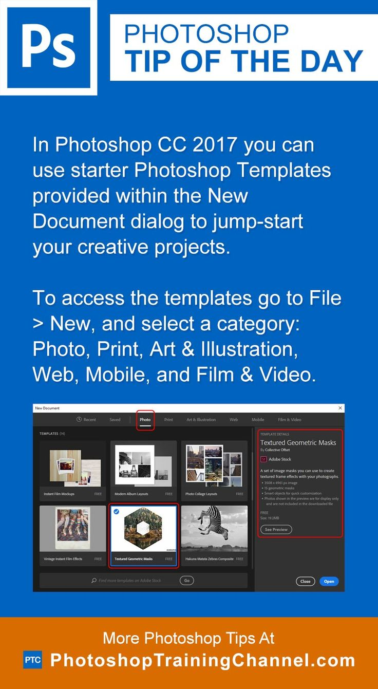In Photoshop CC 2017 you can use starter Photoshop Templates provided within the New Document dialog to jump-start your creative projects.To access the templates go to File > New, and select a category: Photo, Print, Art