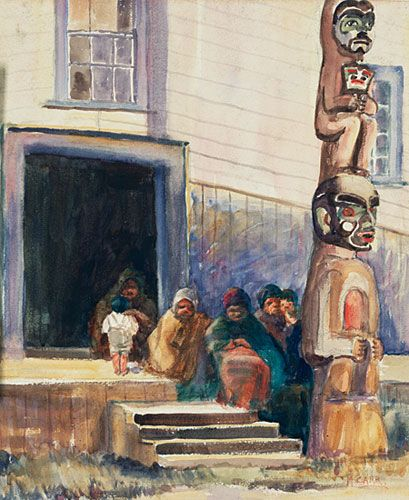 Emily Carr. 'Street Scene, Alert Bay', 1908. (Carr's painting was deeply influenced by the art of the Northwest Coast First Nations...)