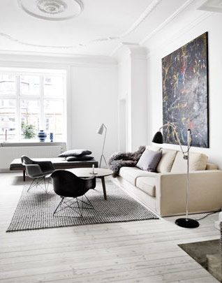 Scandinavian living room decorated with soft neutral hues