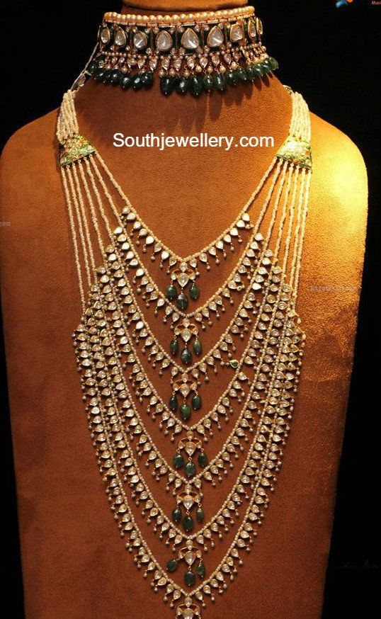 jewelry beads choker crafts 2016 | Polki choker and satlada haar adorned with pearls, emerald beads and ...