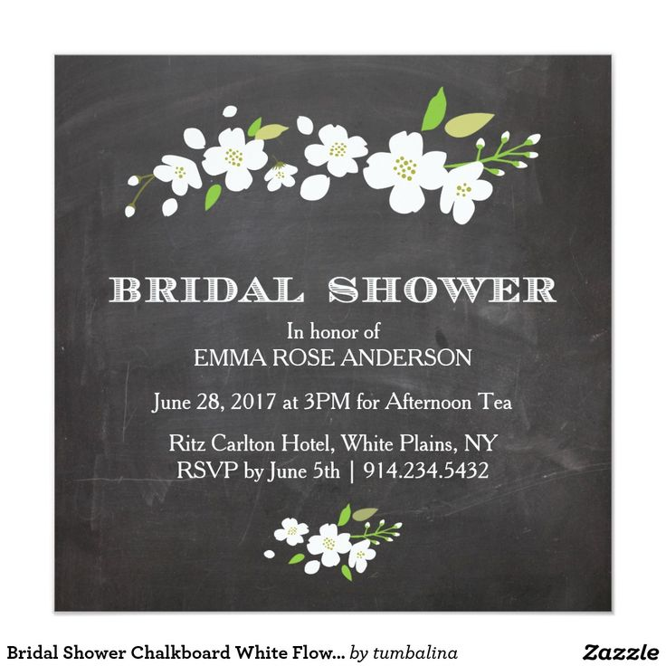 Bridal Shower Chalkboard White Flowers 13 Cm X 13 Cm Square Invitation Card