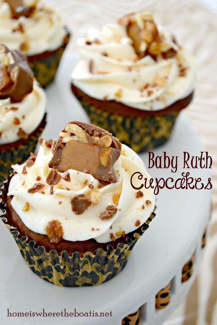 Baby Ruth Cupcakes.  Any other candy bar would probably work.http://homeiswheretheboatis.net/2013/10/09/shower-recipes-baby-ruth-cupcakes-cheddar-due-date-wafers/