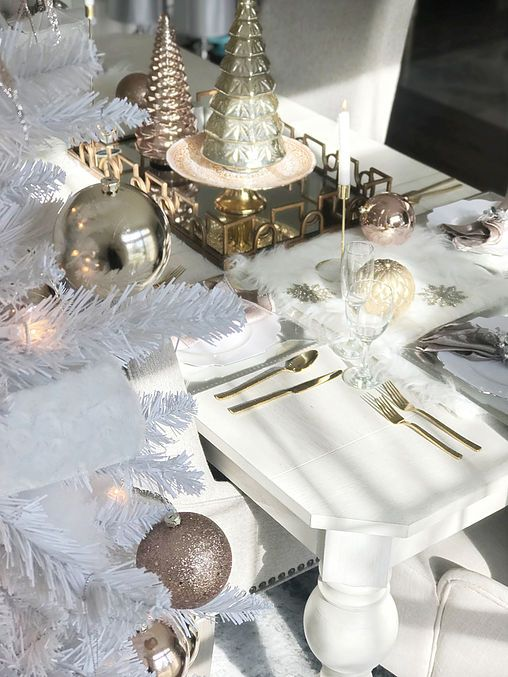 Enchanting Rose gold, blush, silver and white Christmas ...