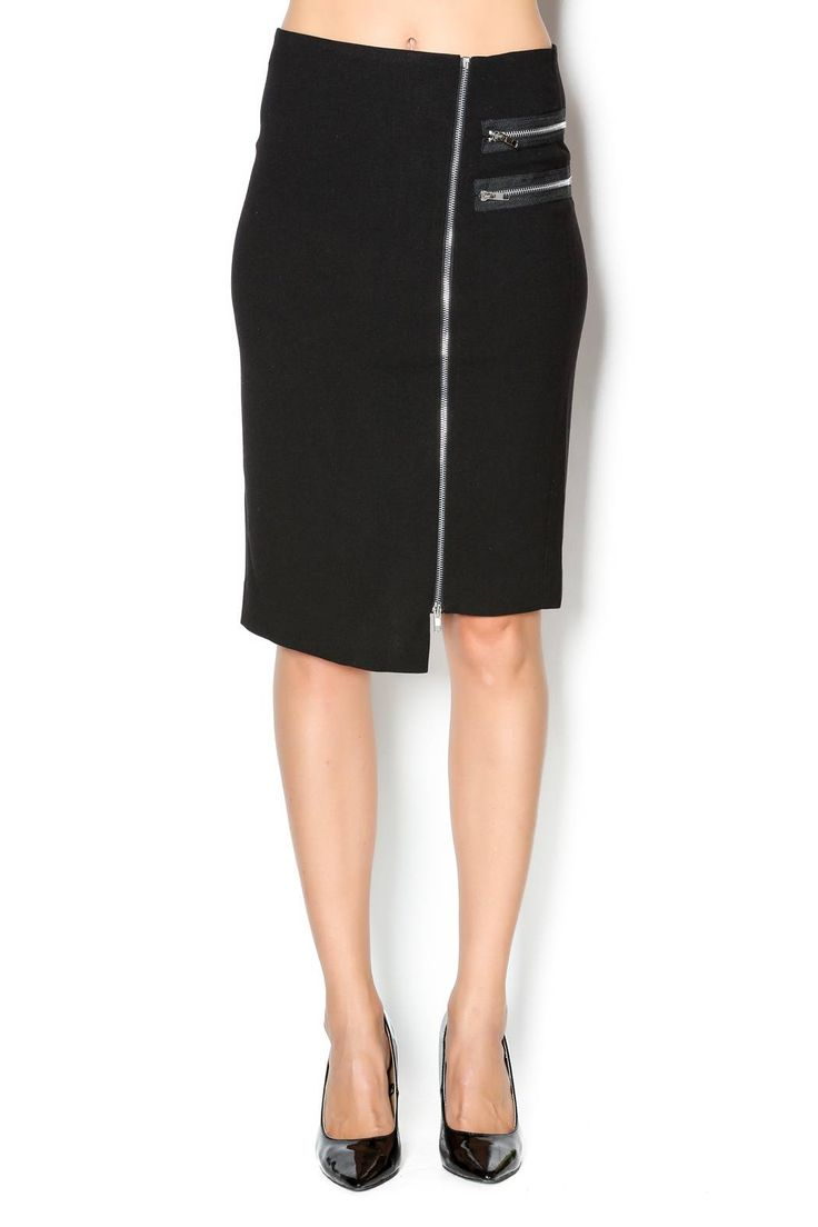 This black pencil skirt features a full zipper down the front of the skirt as well as two side zippers. A pencil skirt with some edge.   Zipped Up Skirt by Blvd. Clothing - Skirts - Knee New York City