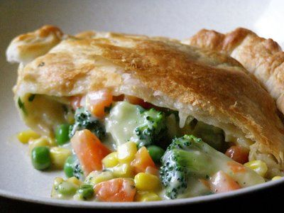 Vegetable Pot Pie with carrots, butternut squash, potatoes, flat leaf parsley, asparagus and onions.