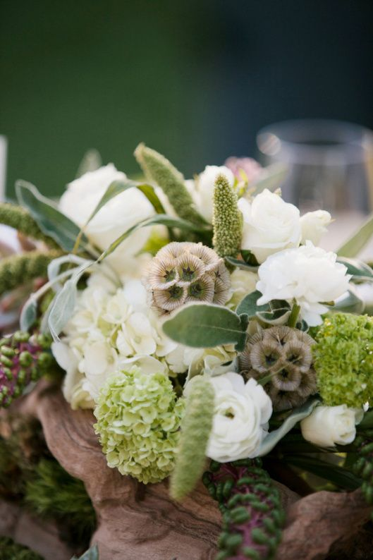 super natural textured green, white, taupe centerpiece inspiration with natural wood