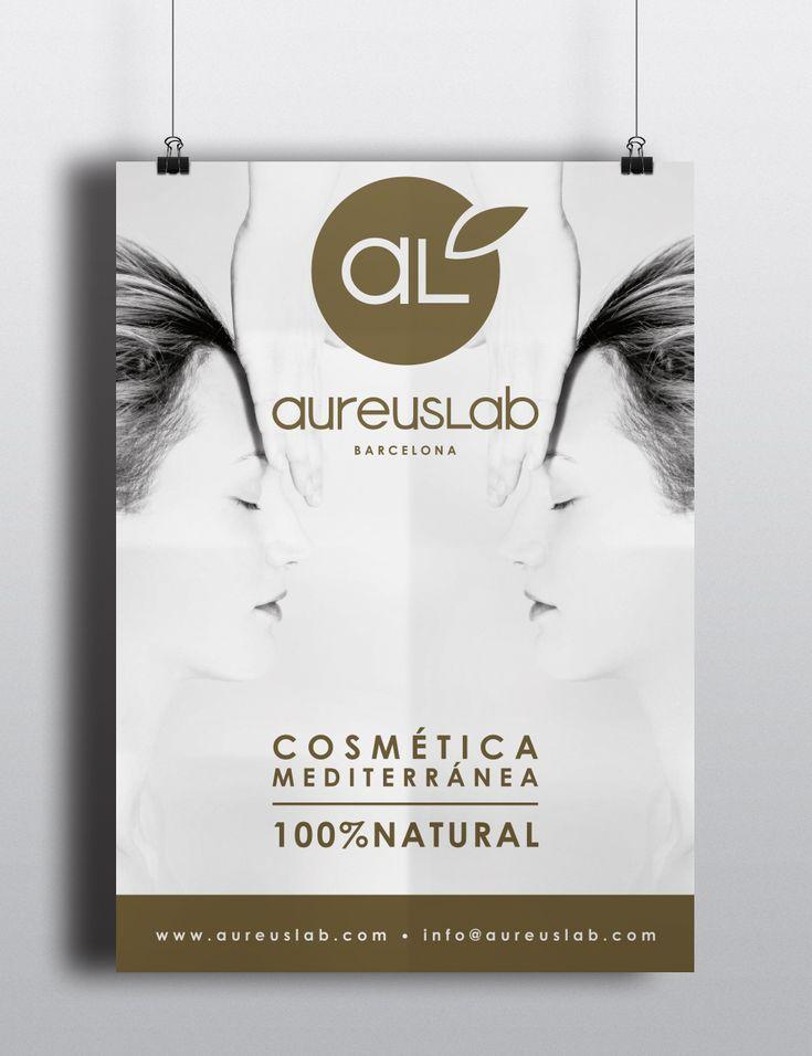 Diseño de rollup, cartel y pegatina para AureusLab - Marca de cosmética natural | República Dominicana - Barcelona