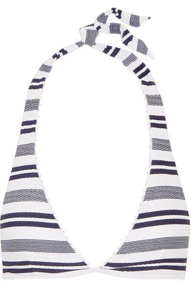 Heidi Klein - Martha's Vineyard Striped Stretch-cloqué Halterneck Bikini Top - Navy - x large
