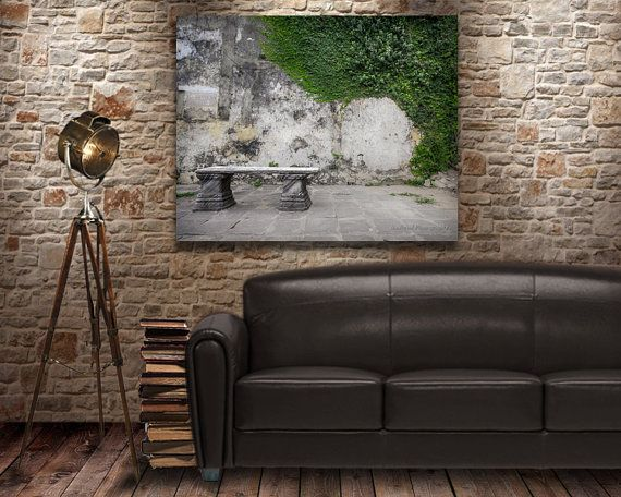 Stone Bench on old Street Green Vines on wall by NadbradDesigns