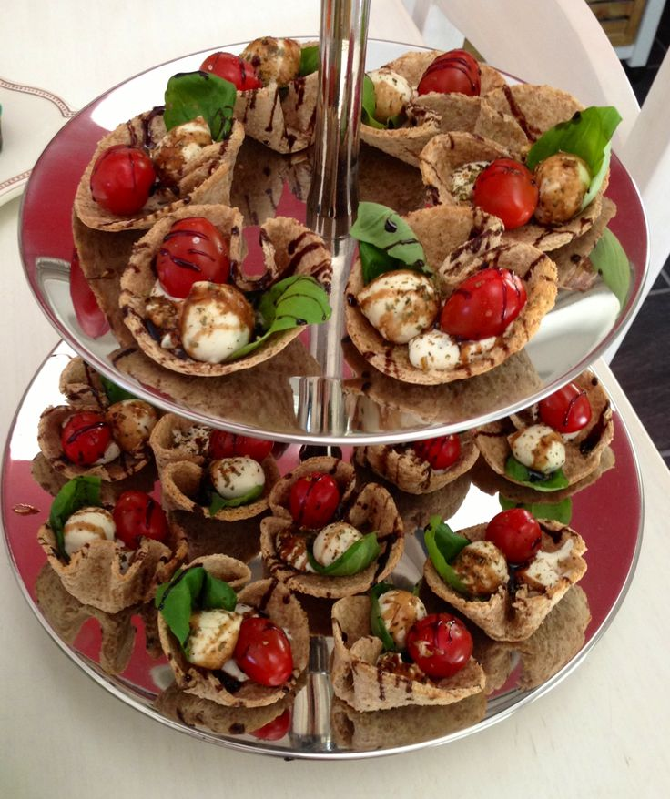 Tomato Mozzarella Cups with basil and balsamico