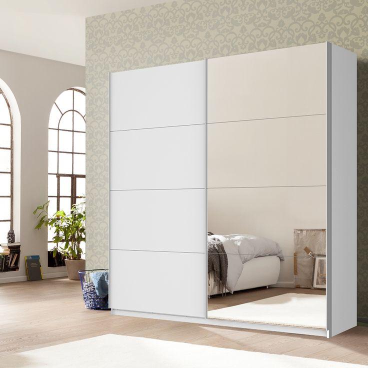 Schwebetürenschrank Skøp - Alpinweiß / Spiegelglas - 225 cm (2-türig) - 222 cm - Basic