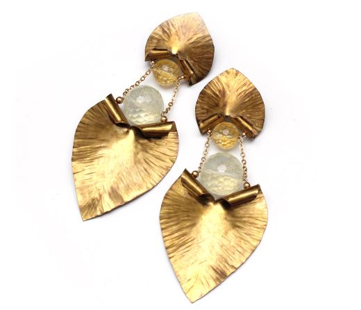 Sculptural brass earrings with citrine and lemon quartz. One of a kind
