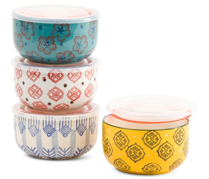 Dishwasher- AND microwave-safe!Get the set of four from TJ Maxx for $14.99. Also available in pineapple and tile print.
