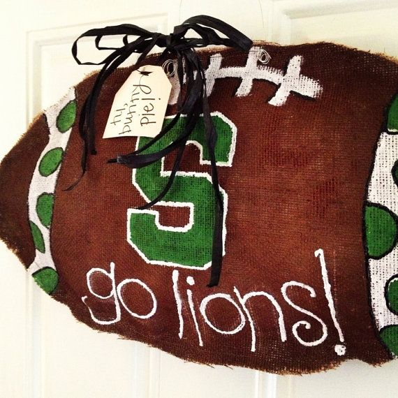 Custommade Burlap Football Door Hanger by hibunnypie on Etsy for hunter when he starts football