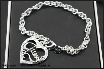 925 Silver Layered Guess Heart Bracelet