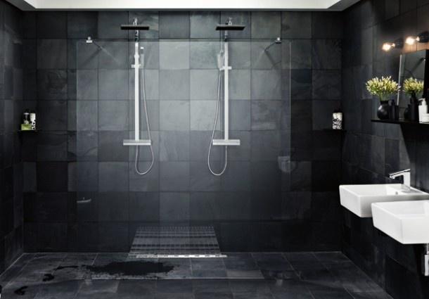 Mooie donkere badkamer badkamer bathroom salle de bain ba o pinterest - Badkamer donker ...