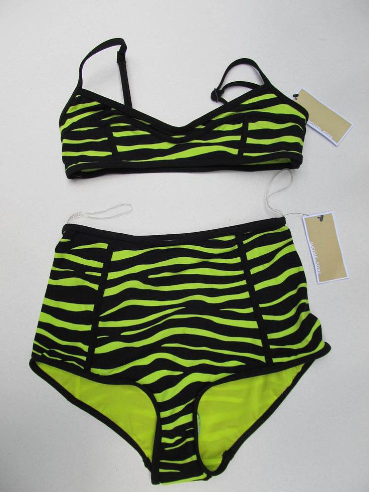 NWT Michael Kors Lime Green Zebra Bikini 2 pc Swimsuit Sz 8 $245 #MichaelKors #Bikini