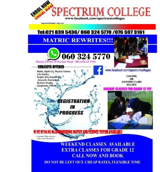 If you want to improve your metric results come and register with us in Bellville. We offer all the subjects metric old and new syllabus.Come and do all your classes with us you will never regret.Our prices are cheap and we maintain small classes of pupilsWhatsApp 060 324 5770call 021 839 5436