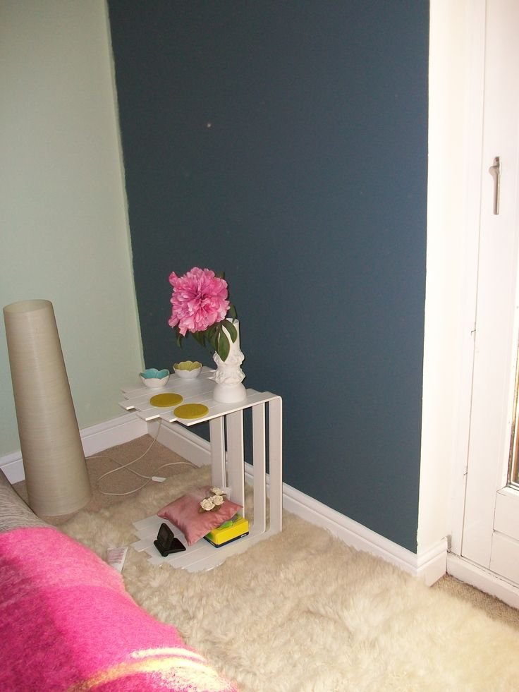 blue steel symphony 1 by dulux for bedroom. tried and tested here. dark grey-blue cosy!!!