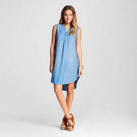 Merona Women's Tencel Sleeveless Shirt Dress, X-Large, Hazen Tint Lyocell  Sleeveless 2 Chest Pockets Hi-Lo Hem Color: Hazen (Medium Tint) Size:  X-Large 490