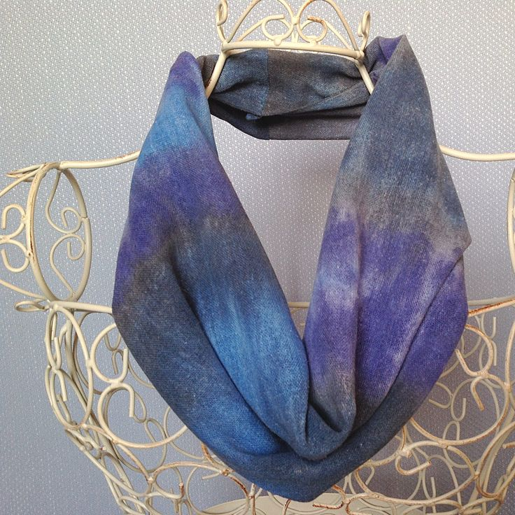 Infinity Snood Scarf, blue scarf, scarf, infinity scarf, snood scarf, blue, azure, sapphire, navy blue, indigo, handpainted scarf,  S550 by ArtOnSilk on Etsy