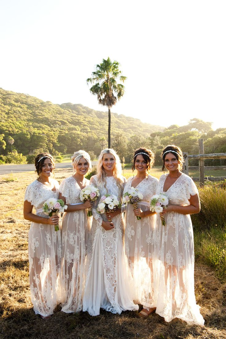 A bride and her maids in lace.